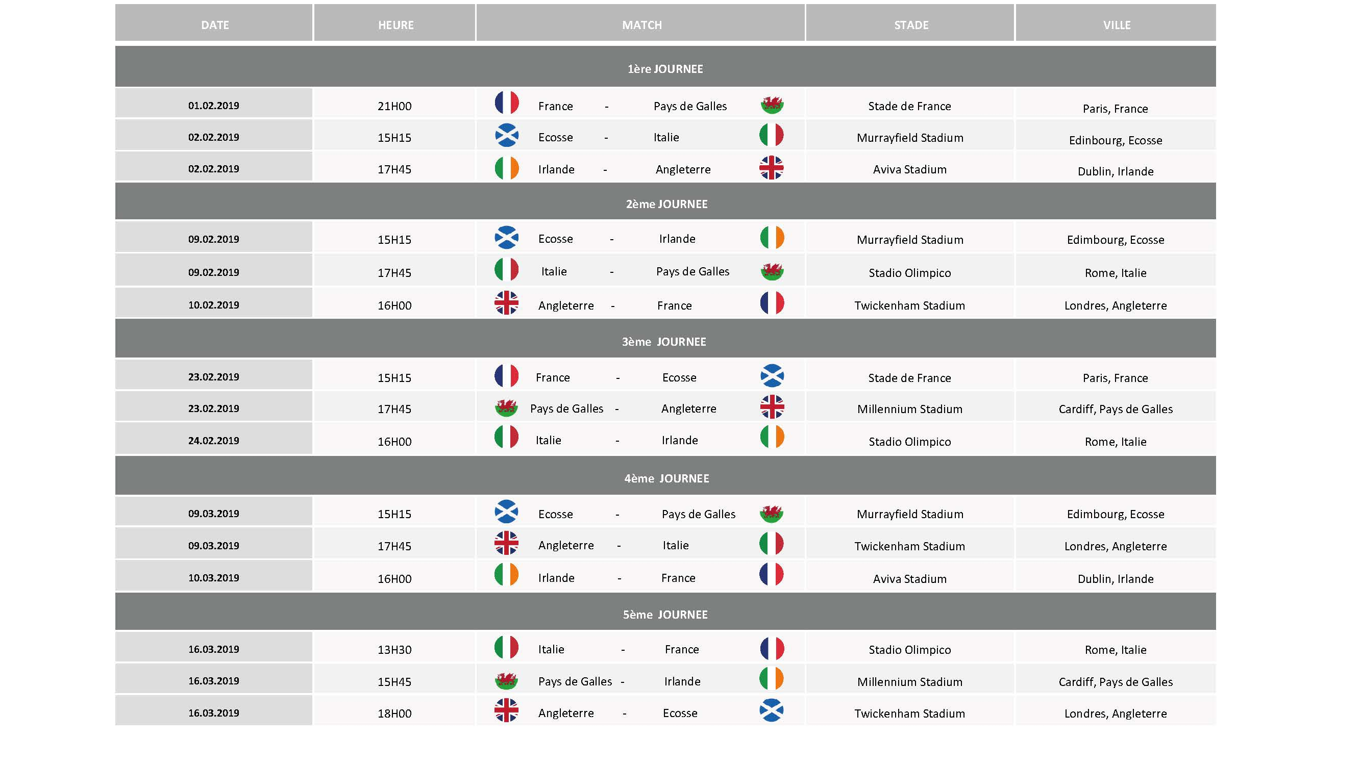 2019 Mixture schedule 6 nations